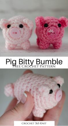 Introducing Bitty Bumbles: A Crochet Pig - Crochet 365 Knit Too - - A crochet pig to make that is such a delight. Small and adorable, works up fast. Great introduction to amigurumi techniques! Marque-pages Au Crochet, Crochet Mignon, Crochet Bunny Pattern, Crochet Amigurumi Free Patterns, Crochet Animal Patterns, Crochet Basics, Stuffed Animal Patterns, Crochet Gifts, Cute Crochet