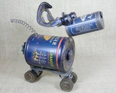 15 Off  NAVY  a robot dog assemblage  Reclaim2Fame by reclaim2fame, $165.00