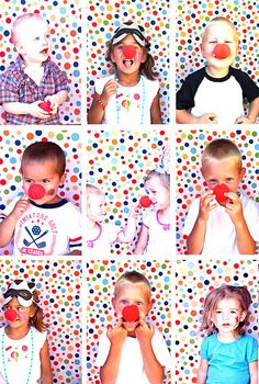 "Have red noses, mustaches, funny glasses and hats to put on and get pictures of each kid---backdrop balloons, pic frame, or flag, and/or red and white stripped ""tent"""