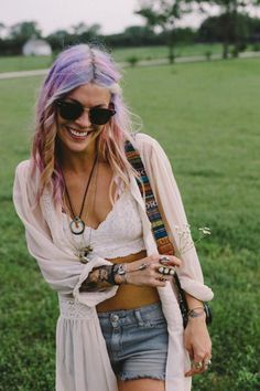 Modern hippie chic purple street style hair, boho chic crochet crop top & oversized sweater for a festival style look. For the BEST Bohemian fashion trends FOLLOW http://www.pinterest.com/happygolicky/the-best-boho-chic-fashion-bohemian-jewelry-gypsy-/