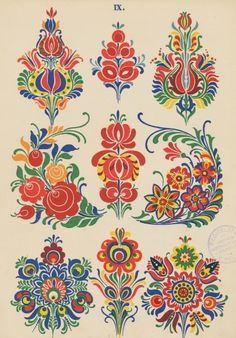 Instant Download - Digital Collage Sheet - Traditional Folk Art - Embroidery…