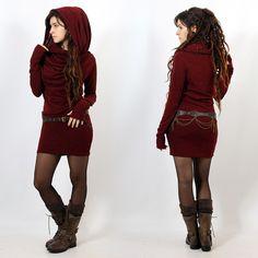 "Yggdrazil ""Kali"" mid season pullover dress, Wine.. always love a hooded dress"