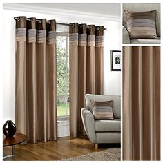 From 36.95 Hamilton Mcbride Seattle Natural Ring Top / Eyelet Fully Lined Readymade Curtain Pair 90x72in(228x182cm) Approx