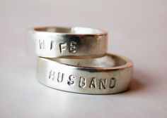 Husband and wife sterling silver wedding band pair by lovinganvil. Love it.