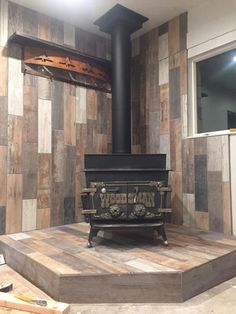 Marazzi Montagna Wood Vintage Chic 6 in. Home Fireplace, Fireplace Remodel, Wood Stove Fireplace, Stove Decor, Wood, Home, Pellet Stove Hearth, Hearth Pad, Wood Stove Surround