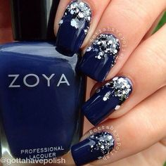 Have a look these awesome collections of blue nail art design ideas, blue and sliver nail design, blue and white nail designs and trends this season. Blue Nail Designs, Pretty Nail Designs, Simple Designs, Homecoming Nails, Prom Nails, Bride Nails, Cute Nails, Pretty Nails, Blue And White Nails