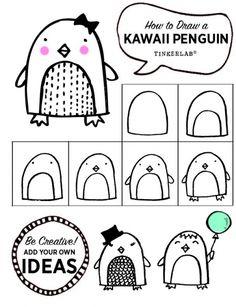 Free Printable - How to draw a cute Kawaii Penguin.