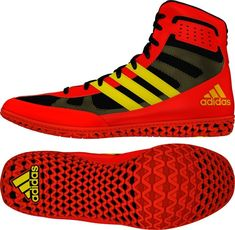 huge selection of 01a5b 7ac44 Adidas Mat Wizard 3 (Red   Yellow   Black) Youth Wrestling Shoes, Yellow