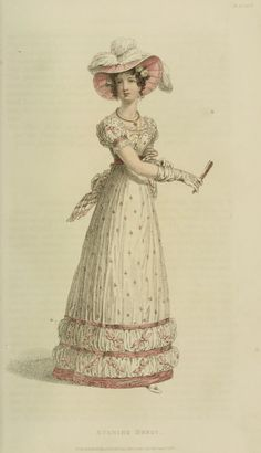 EKDuncan - My Fanciful Muse: Regency Era Fashions - Ackermann's Repository 1824 Regency Gown, Regency Era, Historical Women, Historical Clothing, Art Deco Fashion, Fashion Prints, Fashion Goth, Ladies Fashion, Victorian Fashion