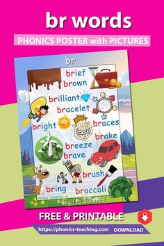 br words - Consonant Blend Poster for mp with pictures - FREE & Printable - Ideal phonics practice for older kids. Will make your phonics instruction more memorable Phonics Reading, Teaching Reading, Teaching Kids, Kids Learning, Word Family List, Blends Worksheets, Word Poster, Phonics Words, Consonant Blends