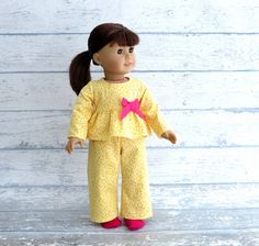 18 inch Doll Clothes Flannel Pajamas with Socks, Yellow Babydoll PJs, Pink Crew Socks