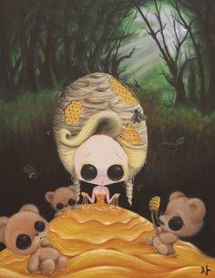 Lowbrow Sugar Fueled Goldilocks Three Bears Honey Sweet Honeycomb creepy cute big eye art print