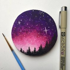 Galaxy Painting Galaxy Art Mountain Painting Wood Slice