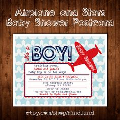Printable POSTCARD Vintage Star Airplane baby shower invitation -- A Custom postcard Digital or Printed for you