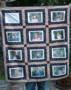 Custom Scrapbook Quilt order for Sara Marten from Etsy. Please do not purchase if you are not Sara. Listing is for one photo quilt, with 16 5x7 photos, with a hanging sleeve and as described in our etsy convos. Contact me to order your own custom heirloom
