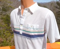 vintage 70s golf polo shirt STRIPES white Medium 80s by skippyhaha, $16.00