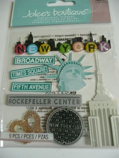 NEW YORK CITY - Statue of Liberty & Rockefeller Center! Vacation, School Trip, Christmas time in NYC! Jolee's Boutique Scrapbooking 3d Stickers by ExpressionsofFaith.etsy.com $3.15