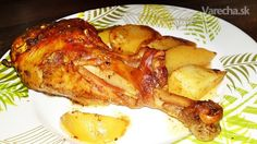 Židovské morčacie stehno na horčici a majoráne (fotorecept) - Recept Samos, French Toast, Meat, Chicken, Breakfast, Food, Beef, Morning Coffee, Meal