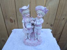 Pink Figurine of Victorian Children Playing, Children's Figurine Pink And White, Figurine of Children Playing With a Sail Boat, Home Decor by MemaAntiques on Etsy