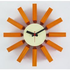 George Nelson Block Clock in Orange