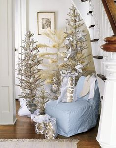 A Vignette of Multiple Christmas Trees! A Wonderful Decorating Idea…………..