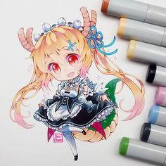 DONE❣ Tohru cosplay de Rem  Y bueno, nadie adivinó las dos maids que me gustaban _(:'v_ #tohru #kobayashisanchinomaiddragon #maid #Rem #traditional #chibi #chibiart #kawaii #moe #cute #instadraw #instaart #copicmarker #copicsketch #copicmultiliner