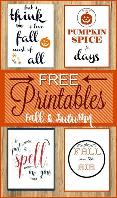 Free printables for Fall. Start your Fall decorating with these lovely printables. Autumn Crafts, Holiday Crafts, Fall Halloween, Halloween Crafts, Autumn Decorating, Happy Fall Y'all, Illustrations, Fall Pumpkins, Making Ideas