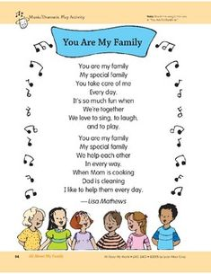 All About My Family: Outdoor Activity, Song,. by Evan-Moor Educational Publishers Preschool Family Theme, All About Me Preschool Theme, Preschool Poems, About Me Activities, Family Activities, Family Poems For Kids, Family Songs, Kids Poems, My Family