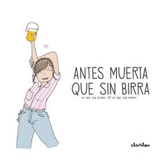 Ay que sin birra! Ay que sin birra! 👯💃🏻 👉@mujeresinteresantes 👈 #mujeresinteresantes 😍Créditos: @clarilou_ Me Quotes, Funny Quotes, Loneliness, Girl Power, My Drawings, Insta Like, Letters, Motivation, Comics