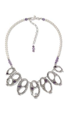Jewelry Design - Single-Strand Necklace with PMC+™ Precious Metal Clay, Amethyst Gemstone Beads and Cabochons and Freshwater Pearls - Fire Mountain Gems and Beads