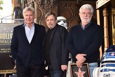 HOLLYWOOD, CA - MARCH 08:  (L-R) Harrison Ford, Mark Hamill, and George Lucas at Mark Hamill Star Ceremony on the Hollywood Walk of Fame on March 8, 2018 at Hollywood Walk Of Fame in Hollywood, California.  (Photo by Alberto E. Rodriguez/Getty Images for Disney)