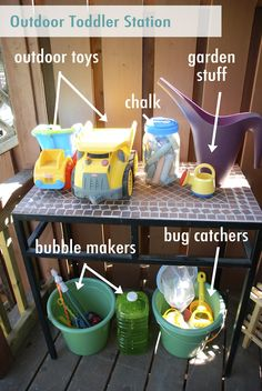Outdoor Toddler Station- I need to do something like this, but a cabinet, not a table.