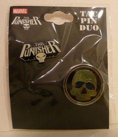 Set of 2 The Punisher Skull Marvel Comics Hat Lapel Metal Pins 2004 New Tac Duo