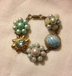 Bracelet from Upcycled Vintage Earrings by heartsoftoday on Etsy, $30.00