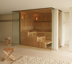 This contemporary sauna can be fitted with a unique oxygen-therapy feature. Sauna Steam Room, Sauna Room, Jacuzzi, Contemporary Saunas, Sauna Design, Finnish Sauna, Spa Rooms, Bathroom Layout, My Dream Home