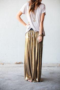 Gold maxi skirt from The Oxford Trunk. It looks like liquid metal. I love it.