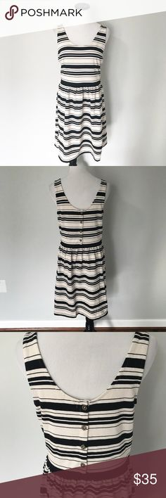 """J. CREW Black Cream striped button back Dress Black and cream striped sleeveless dress from J. Crew factory. Buttons on back. Fit and flare style. Chest 17.5"""". Length 38"""". J. Crew Dresses"""