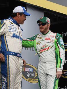 Michael Waltrip and Dale Earnhardt Jr. talk backstage at Daytona.