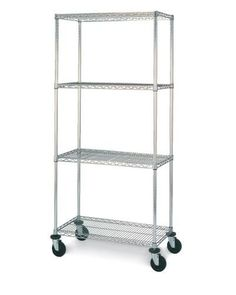 """Olympic 21"""" Deep 4 Shelf Mobile Carts - Chrome - 21"""" x 60"""" x 59"""" by Olympic. $392.39. Olympic wire shelving made of carbon-steel will exceed all your storage needs. Open construction allows use of maximum storage space of cube. Each unit includes 4 posts, 4 shelves, 4 swivel stem rubber casters - 2 with brakes and 2 without - 4 donut bumpers and split-sleeves to attach shelves to posts. Chrome finishes are perfect for retail applications. Product Features: Open w..."""
