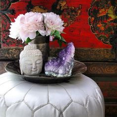 Buddha, Lounge Poof, Peonies,  Amethyst ♡ Porch/Patio Decor