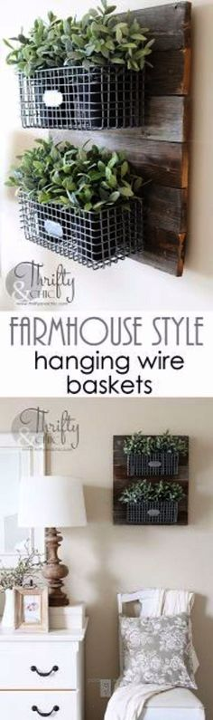 Outstanding Best Country Decor Ideas  Farmhouse Style Hanging Wire Baskets  Rustic Farmhouse Decor Tutorials and Easy Vintage Shabby Chic Home Decor for Kitchen Living Room and Bathroom  Creativ .. #easyhomedecor