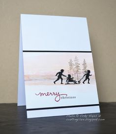 Crafting ideas and supplies from Vicky at Crafting Clare's Paper Moments: Sledging through the snow! Christmas Themes, Christmas Cards, Christmas Artwork, Christmas Stuff, Holiday Cards, Xmas, Cardio Cards, March Colors, Endless Wishes