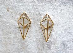 geometric metal cage earrings