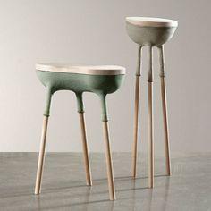 Exposition Etreinte - design Elise Gabriel - Galerie Gosserez - Sellettes Oblonge et Ronde