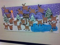 Reindeer Art. Oh my gosh could this get any cuter??? Could do faces first, then body and legs so they can decide how they want it. Just basic cut paper shapes.
