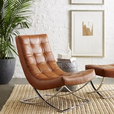 James (iconic Baubaus) Nickel & Leather Chair, Saddle Leather, Solid,