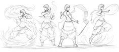 korra bending all four elements by Sketchydeez.deviantart.com on @DeviantArt
