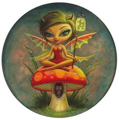 ~ Cute little fairy on a mushroom!