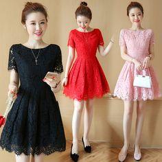 레이스 드레스 2017 여름 새로운 여성 슬림 허리 긴 단락 반소매 빨간 드레스 새로운 도착 얇은했다
