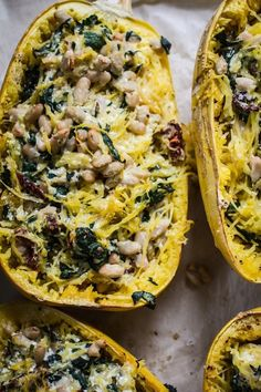 Tuscan Kale + White Bean Spaghetti Squash Lasagna Bake - serve this decadent dish at your next dinner party for an entree your guests won't soon forget. Kale Recipes, Vegetable Recipes, Whole Food Recipes, Cooking Recipes, Healthy Recipes, Fall Vegetarian Recipes, Healthy Meals, Chicken Recipes, Vegetarian Barbecue